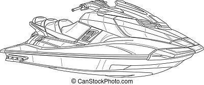 jetski - technical illustration