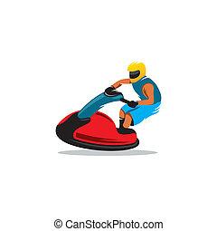 Jetski vector sign - man on jetski jump on the wave isolated...
