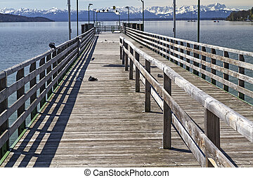 "Jetty at ""Starnberger See"" Lake in Bavaria, Germany"