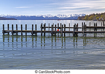 """Jetty at """"Starnberger See"""" Lake in Bavaria, Germany"""