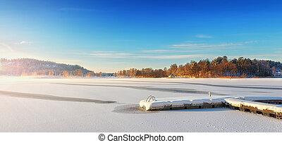 Jetty in a winter landscape