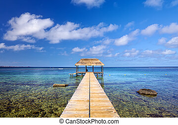 Jetty in Mauritius Island - Indian Ocean with jetty in ...