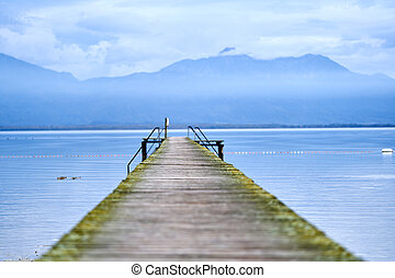 Jetty in the middle of a lake