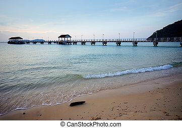 Jetty on a sunny tropical day at Tioman Island, Pahang, Malaysia