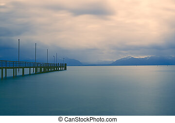 Jetty on lake Chiemsee, Germany