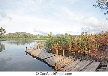 Jetty on lake