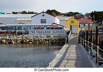 Jetty used by visitors arriving by sea in Stanley, capital of the Falkland Islands.
