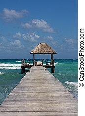 Jetty with Beach Hut at Perfect Caribbean Beach