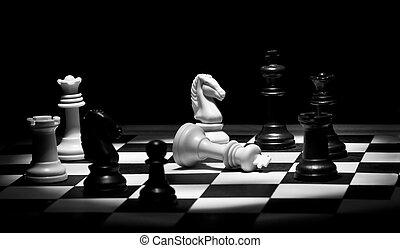 jeu échecs, dans, noir blanc
