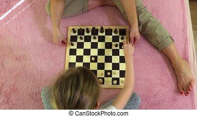 jeu échecs, fille, competed, mère