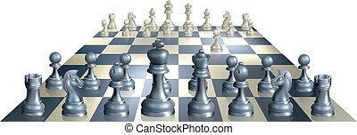 jeu, échecs, illustration