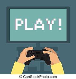 jeu, écran, moniteur