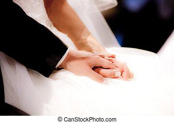 jeu, époux, amour, ils, anneaux, jeune, avoir, eux-mêmes, donné