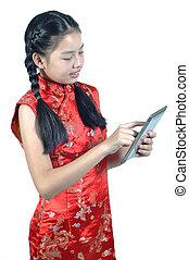 jeu, 12, vieux, chinois, tablet., années, smartphone, asiatique, année, nouveau, girl, robe, rouges
