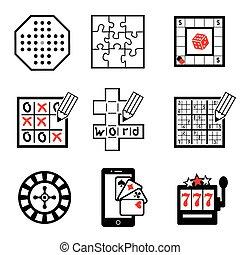 jeu, 2, partie, icônes