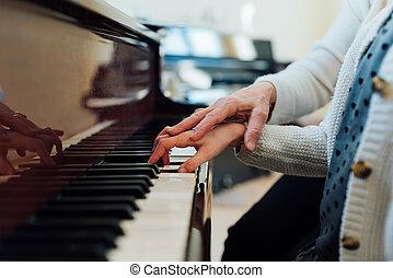 jeu, aides, prof, correctement, étudiant musique