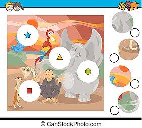 jeu, animaux, allumette, safari, morceaux