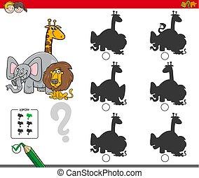 jeu, animaux, ombre, caractères, activité