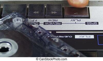 jeu, arrêt, vendange, poussée bouton, joueur, cassette, réembobiner, en avant!, audio