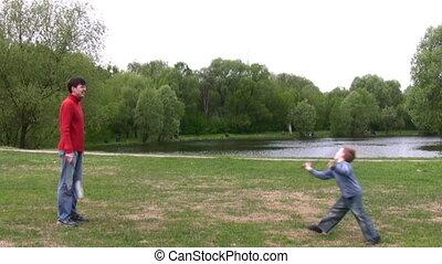 jeu, badminton, père, fils