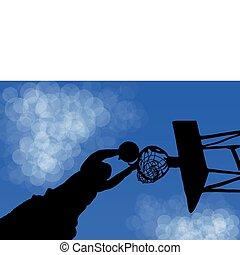 jeu, basket-ball, silhouette, anneau