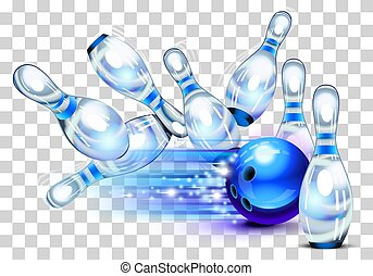 jeu, bleu, jouer, bowling