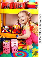 jeu, bloc, construction., enfant