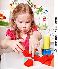 jeu, bloc, room., preschooler, bois, enfant