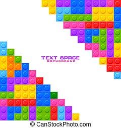 jeu, blocs, fond, construction, plastique, jouets