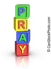 jeu, blocs, :, prier