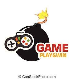 jeu, bombe, &, gagner, image, jeu, vecteur, noir, manche balai