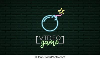 jeu, boom, néon, mur, lumière, vidéo