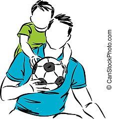 jeu boule, père, illustration, vecteur, fils, ensemble, football