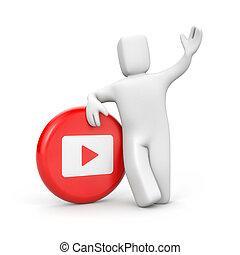 jeu, bouton, illustration, personne, blanc rouge, 3d