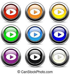 jeu, bouton, set.