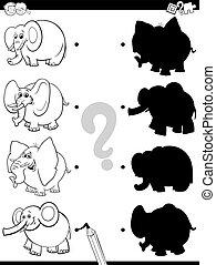 jeu, caractères, livre, éléphant, ombre, couleur