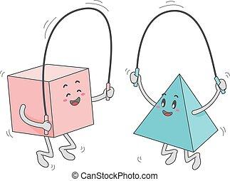 jeu, carrée, triangle, corde, forme, sauter, mascotte