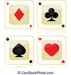 jeu carte, icônes