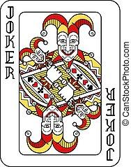 jeu carte, noir, joker, jaune, rouges