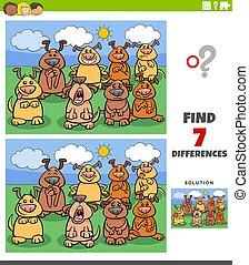jeu, comique, différences, chiens, pédagogique