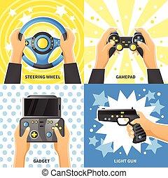 jeu, concept, conception, gadget, 2x2