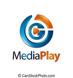 jeu, concept, média, trois dimensionnel, conception, logo, cercle