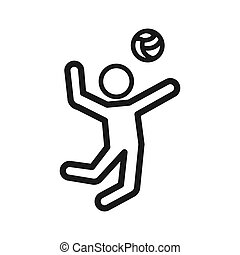 jeu, conception, volley-ball, illustration