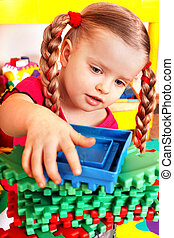 jeu, construction, bloc, enfant