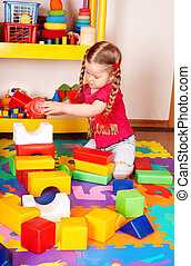 jeu, construction, set., bloc, enfant