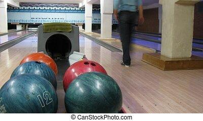 jeu, défaillance, hommes, club, deux, clair, temps, bowling