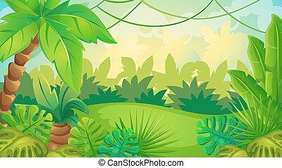 jeu, dessin animé, fond, jungle