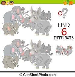 jeu, différences, éléphants