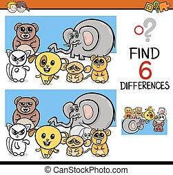 jeu, différences, animaux