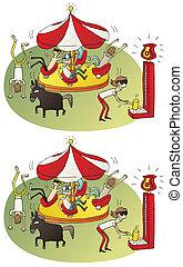 jeu, différences, cirque, visuel
